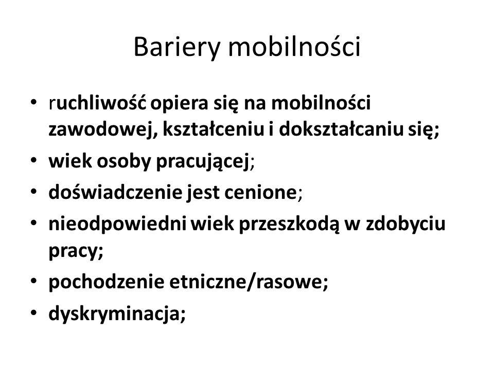Bariery mobilności ruchliwość opiera się na mobilności zawodowej, kształceniu i dokształcaniu się; wiek osoby pracującej; doświadczenie jest cenione;