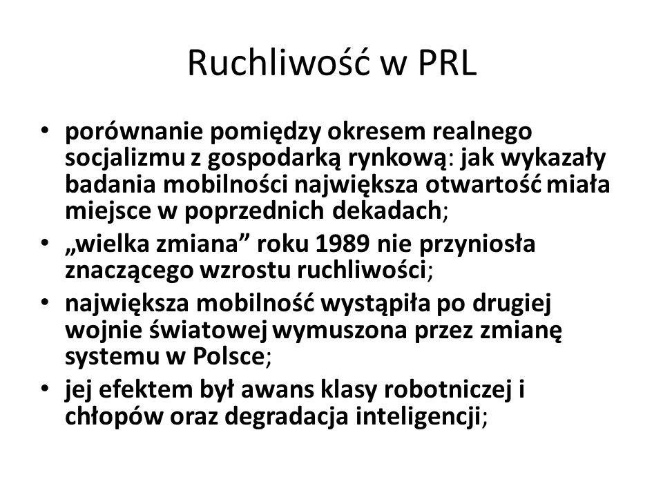 Ruchliwość w PRL porównanie pomiędzy okresem realnego socjalizmu z gospodarką rynkową: jak wykazały badania mobilności największa otwartość miała miej