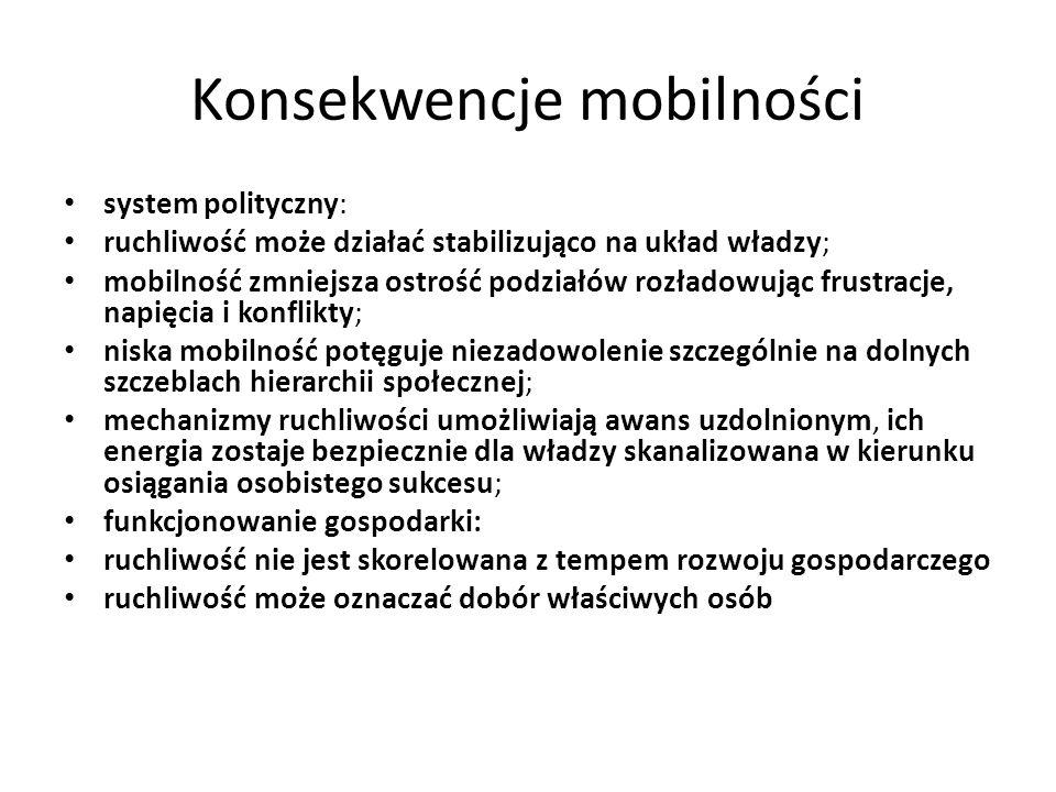 Konsekwencje mobilności system polityczny: ruchliwość może działać stabilizująco na układ władzy; mobilność zmniejsza ostrość podziałów rozładowując f
