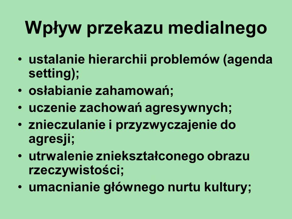 Wpływ przekazu medialnego ustalanie hierarchii problemów (agenda setting); osłabianie zahamowań; uczenie zachowań agresywnych; znieczulanie i przyzwyc