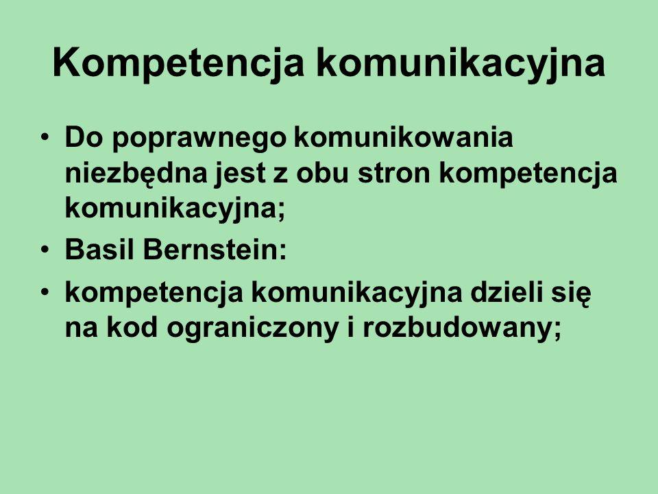 Kompetencja komunikacyjna Do poprawnego komunikowania niezbędna jest z obu stron kompetencja komunikacyjna; Basil Bernstein: kompetencja komunikacyjna dzieli się na kod ograniczony i rozbudowany;