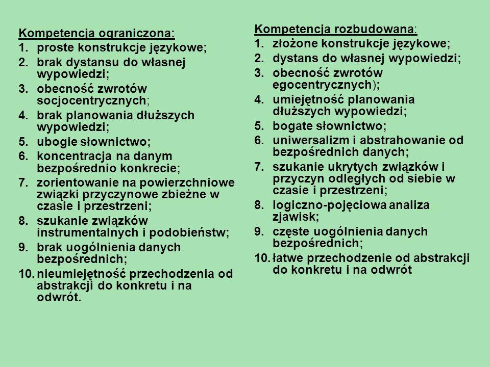 Kompetencja ograniczona: 1.proste konstrukcje językowe; 2.brak dystansu do własnej wypowiedzi; 3.obecność zwrotów socjocentrycznych; 4.brak planowania