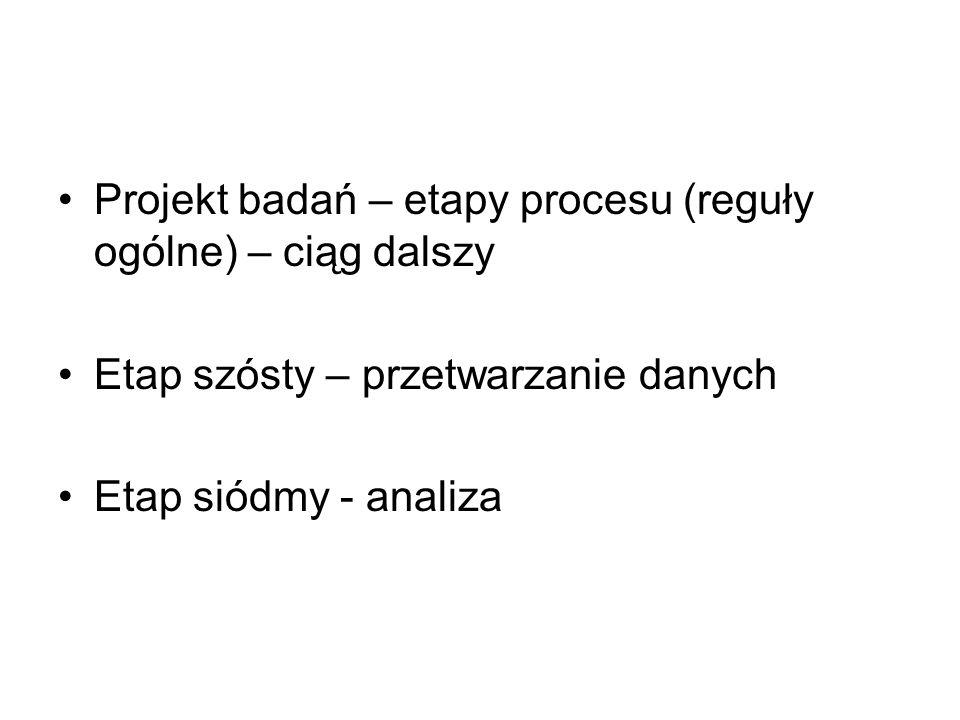 Projekt badań – etapy procesu (reguły ogólne) – ciąg dalszy Etap szósty – przetwarzanie danych Etap siódmy - analiza