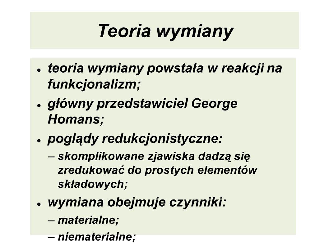 Teoria wymiany teoria wymiany powstała w reakcji na funkcjonalizm; główny przedstawiciel George Homans; poglądy redukcjonistyczne: –skomplikowane zjaw