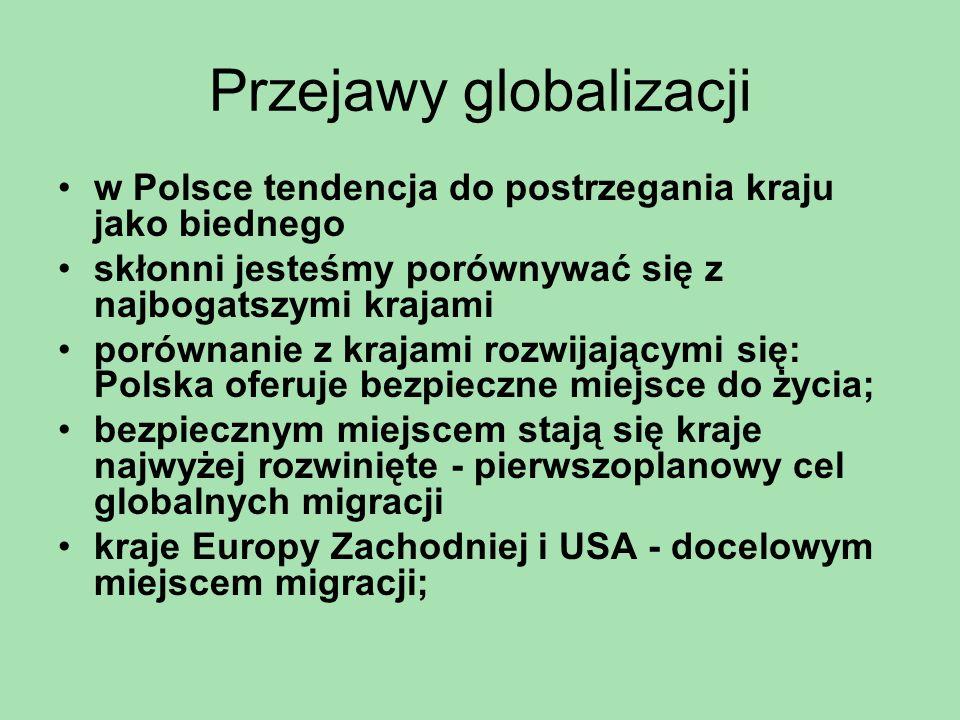 Przejawy globalizacji w Polsce tendencja do postrzegania kraju jako biednego skłonni jesteśmy porównywać się z najbogatszymi krajami porównanie z kraj