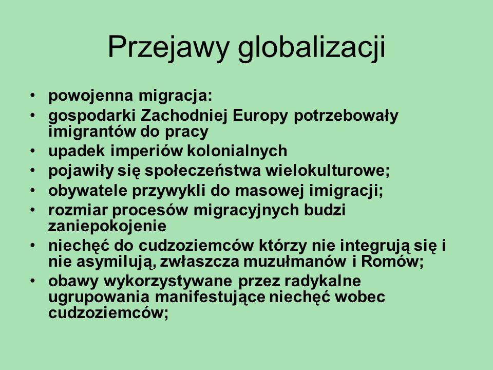 Przejawy globalizacji powojenna migracja: gospodarki Zachodniej Europy potrzebowały imigrantów do pracy upadek imperiów kolonialnych pojawiły się społ