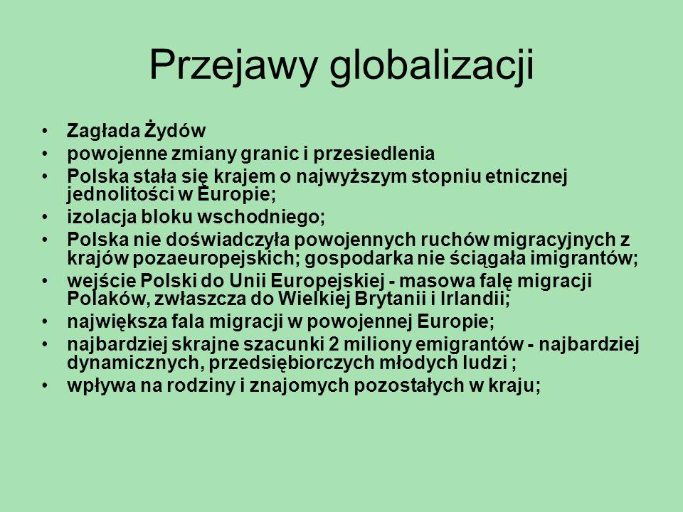 Przejawy globalizacji Zagłada Żydów powojenne zmiany granic i przesiedlenia Polska stała się krajem o najwyższym stopniu etnicznej jednolitości w Euro