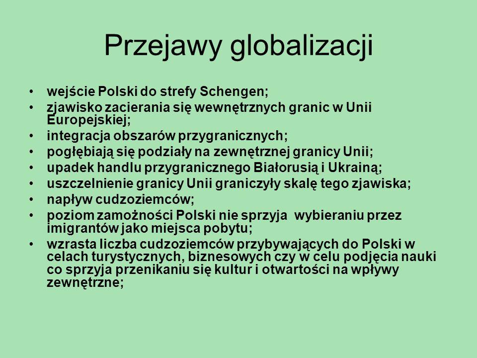 Przejawy globalizacji wejście Polski do strefy Schengen; zjawisko zacierania się wewnętrznych granic w Unii Europejskiej; integracja obszarów przygran