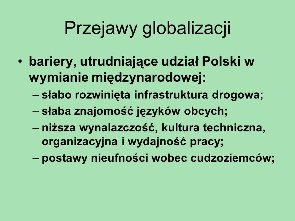 Przejawy globalizacji bariery, utrudniające udział Polski w wymianie międzynarodowej: –słabo rozwinięta infrastruktura drogowa; –słaba znajomość język