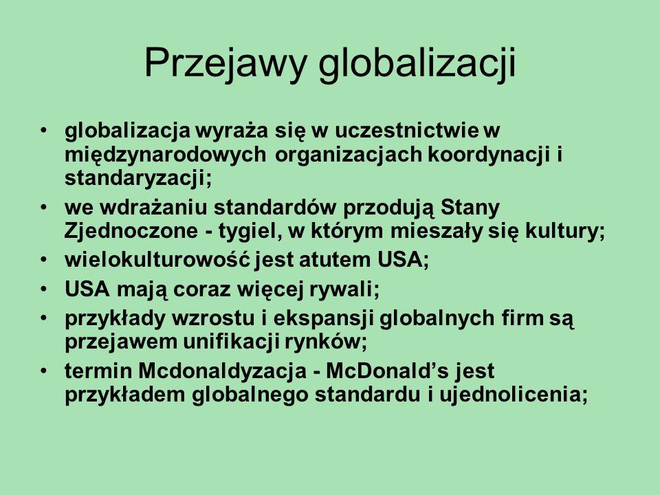 Przejawy globalizacji unifikacja i ekspansja globalnych firm pociąga za sprzeciw grup fundamentalistycznych; Globalizacja wyraża się we współzależności krajów; wzrost tempa przemian społecznych w XIX w.; dwudzieste stulecie - powstanie bloku państw komunistycznych i jego rozpad oraz upadek imperiów kolonialnych; udoskonalenie środków transportu; wzrost globalnych powiązań handlowych;