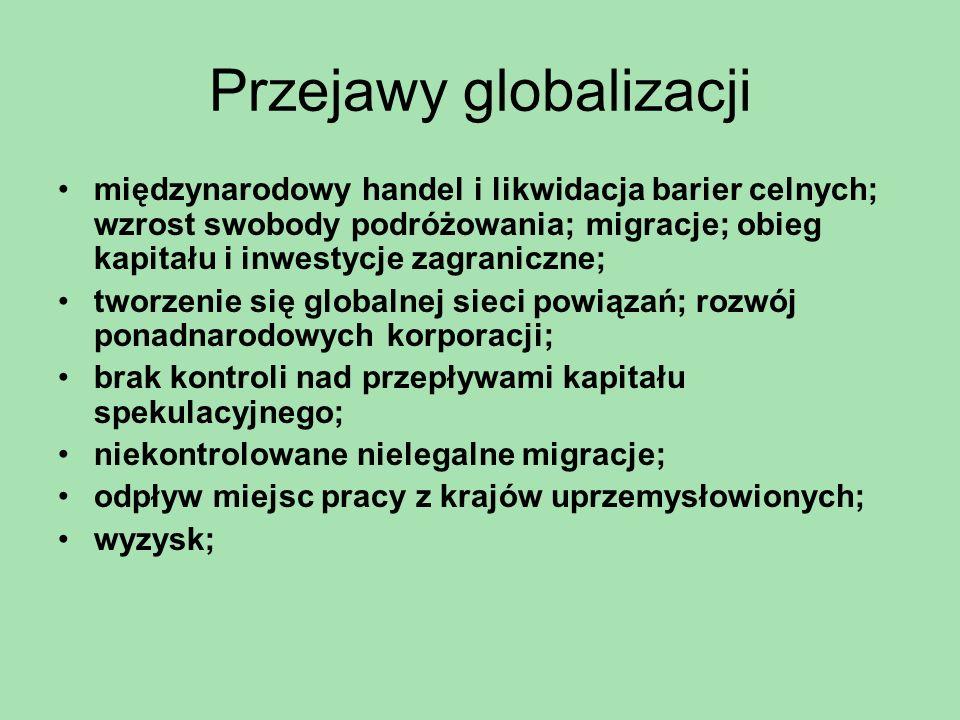 Przejawy globalizacji Zagłada Żydów powojenne zmiany granic i przesiedlenia Polska stała się krajem o najwyższym stopniu etnicznej jednolitości w Europie; izolacja bloku wschodniego; Polska nie doświadczyła powojennych ruchów migracyjnych z krajów pozaeuropejskich; gospodarka nie ściągała imigrantów; wejście Polski do Unii Europejskiej - masowa falę migracji Polaków, zwłaszcza do Wielkiej Brytanii i Irlandii; największa fala migracji w powojennej Europie; najbardziej skrajne szacunki 2 miliony emigrantów - najbardziej dynamicznych, przedsiębiorczych młodych ludzi ; wpływa na rodziny i znajomych pozostałych w kraju;