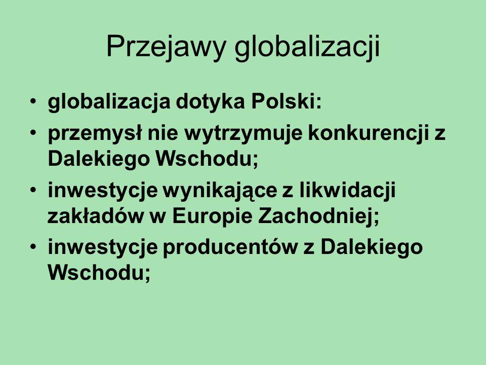 Przejawy globalizacji globalizacja dotyka Polski: przemysł nie wytrzymuje konkurencji z Dalekiego Wschodu; inwestycje wynikające z likwidacji zakładów
