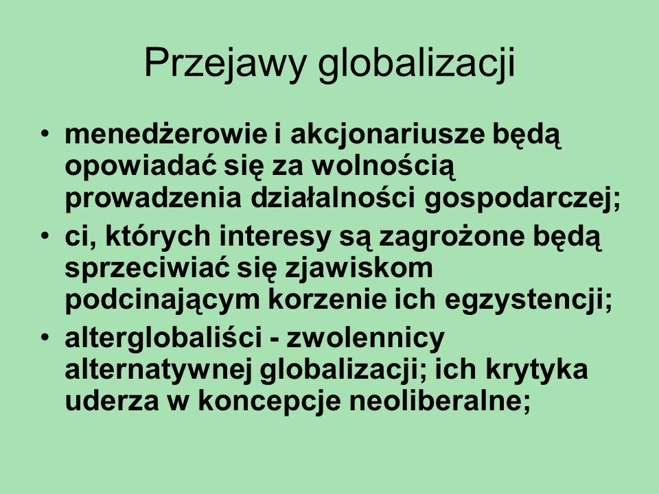 Przejawy globalizacji Konsensus Waszyngtoński: –Utrzymanie dyscypliny finansowej; –Ukierunkowanie wydatków publicznych na dziedziny, które gwarantują wysoką efektywność poniesionych nakładów; –Reformy podatkowe ukierunkowane na obniżanie krańcowych stóp podatkowych i poszerzanie bazy podatkowej; –Liberalizacja rynków finansowych; –Utrzymywanie jednolitego kursu walutowego; –Liberalizacja handlu; –Likwidacja barier dla zagranicznych inwestycji bezpośrednich; –Prywatyzacja przedsiębiorstw państwowych; –Deregulacja rynków; –Gwarancja własności;