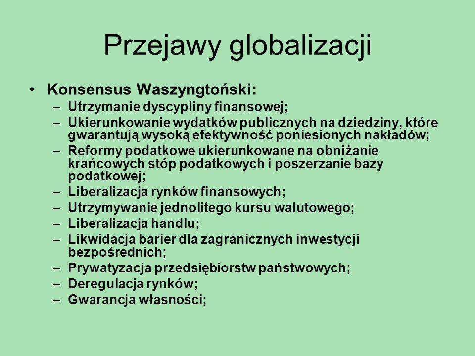 Przejawy globalizacji Konsensus Waszyngtoński: –Utrzymanie dyscypliny finansowej; –Ukierunkowanie wydatków publicznych na dziedziny, które gwarantują