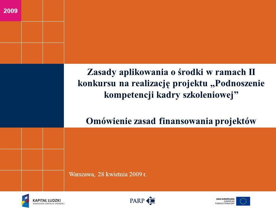 Warszawa, 28 kwietnia 2009 r.Tematy omawiane w ramach zagadnień finansowych 1.