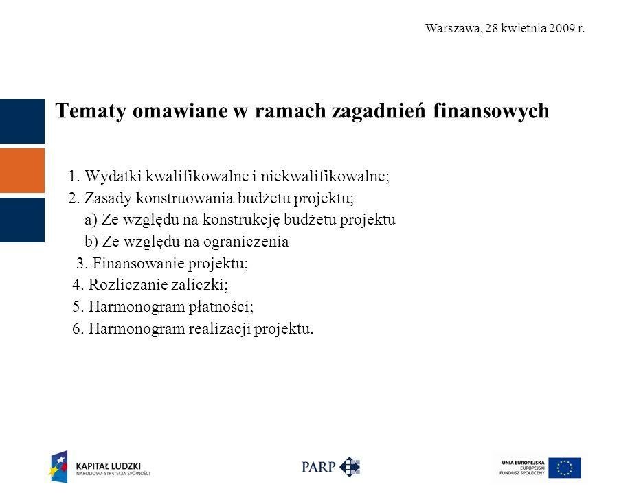 Warszawa, 28 kwietnia 2009 r. Tematy omawiane w ramach zagadnień finansowych 1.