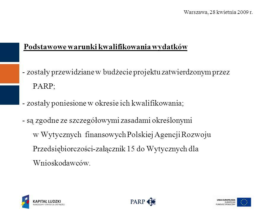 Warszawa, 28 kwietnia 2009 r.Koszty pośrednie – sposoby rozliczania 1.