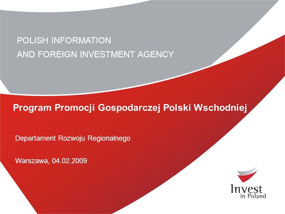 POLISH INFORMATION AND FOREIGN INVESTMENT AGENCY Program Promocji Gospodarczej Polski Wschodniej Departament Rozwoju Regionalnego Warszawa, 04.02.2009