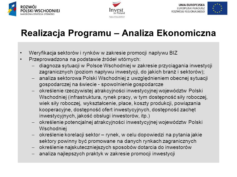 Realizacja Programu – Analiza Ekonomiczna Weryfikacja sektorów i rynków w zakresie promocji napływu BIZ Przeprowadzona na podstawie źródeł wtórnych: –