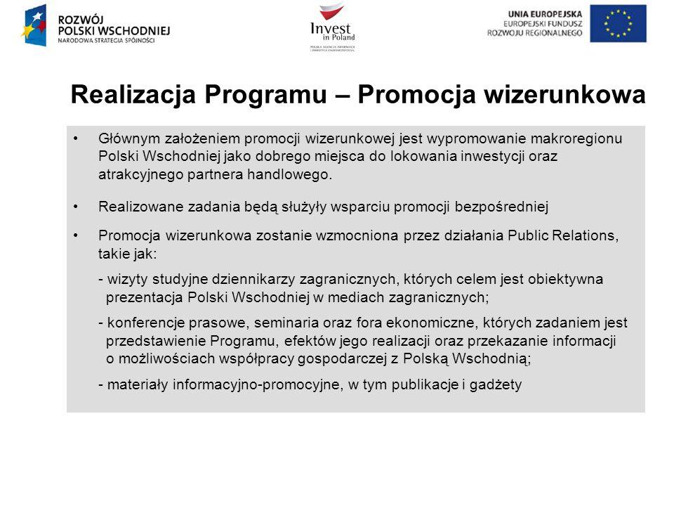 Realizacja Programu – Promocja wizerunkowa Głównym założeniem promocji wizerunkowej jest wypromowanie makroregionu Polski Wschodniej jako dobrego miej
