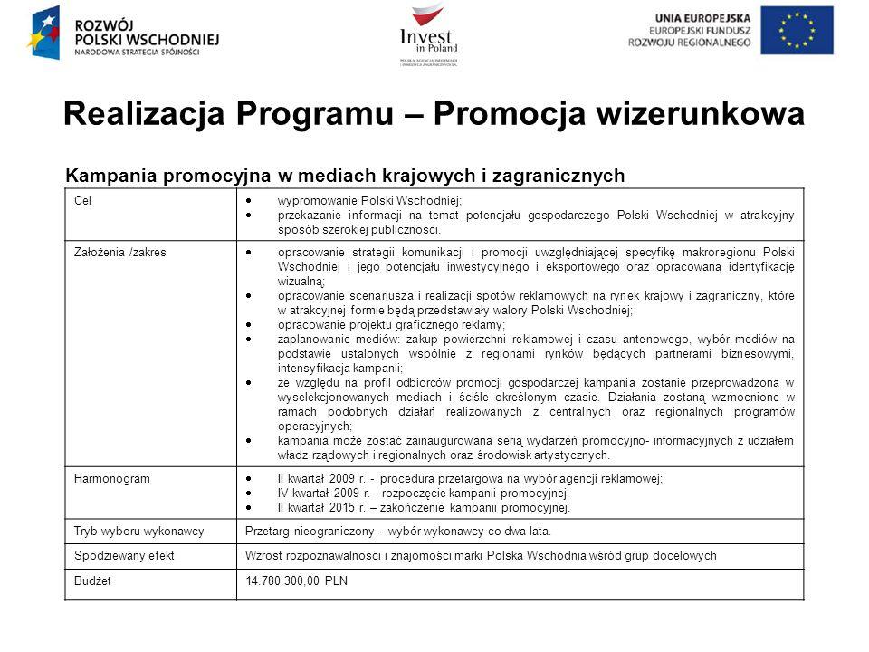 Kampania promocyjna w mediach krajowych i zagranicznych Realizacja Programu – Promocja wizerunkowa Cel wypromowanie Polski Wschodniej; przekazanie inf