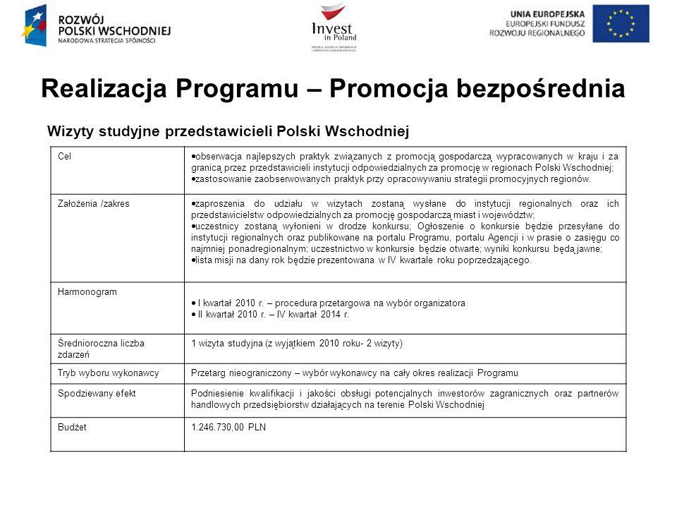 Realizacja Programu – Promocja bezpośrednia Wizyty studyjne przedstawicieli Polski Wschodniej Cel obserwacja najlepszych praktyk związanych z promocją