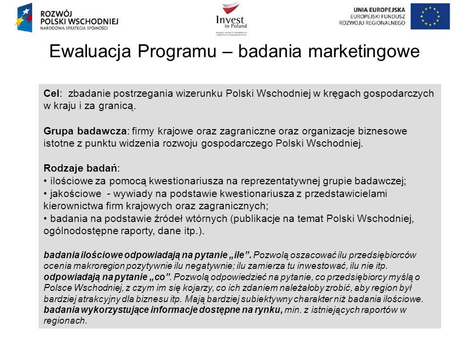 Ewaluacja Programu – badania marketingowe Cel: zbadanie postrzegania wizerunku Polski Wschodniej w kręgach gospodarczych w kraju i za granicą. Grupa b