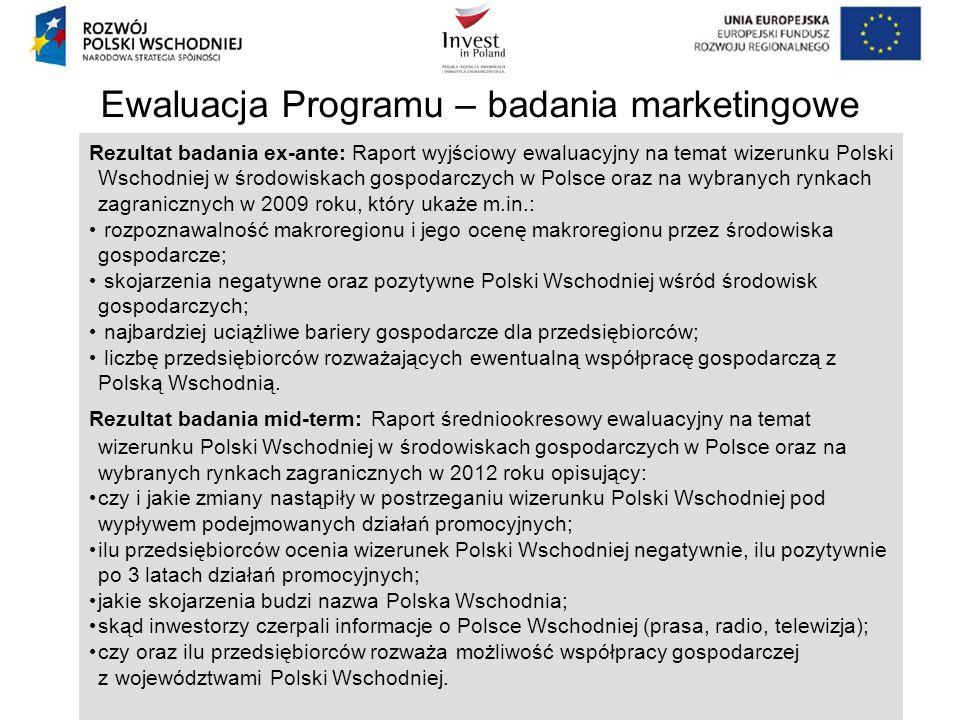 Ewaluacja Programu – badania marketingowe Rezultat badania ex-ante: Raport wyjściowy ewaluacyjny na temat wizerunku Polski Wschodniej w środowiskach g