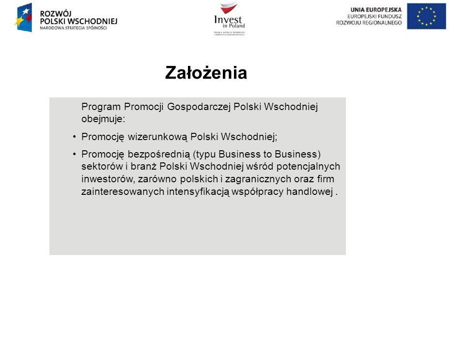 Program Promocji Gospodarczej Polski Wschodniej obejmuje: Promocję wizerunkową Polski Wschodniej; Promocję bezpośrednią (typu Business to Business) se