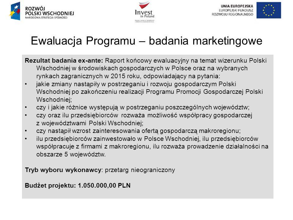 Ewaluacja Programu – badania marketingowe Rezultat badania ex-ante: Raport końcowy ewaluacyjny na temat wizerunku Polski Wschodniej w środowiskach gos