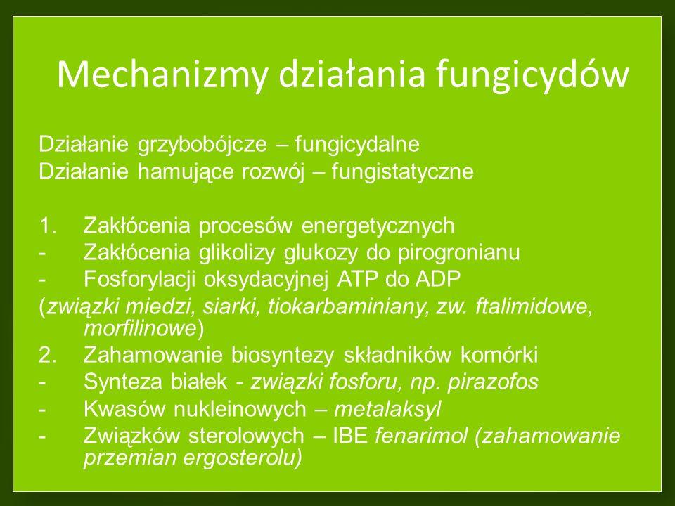 Test sprawdzający 1. Działanie wgłębne fungicydu polega na: a.Przemieszczaniu z wiązkami przewodzącymi b.Działaniu na powierzchni rośliny c.Działaniu