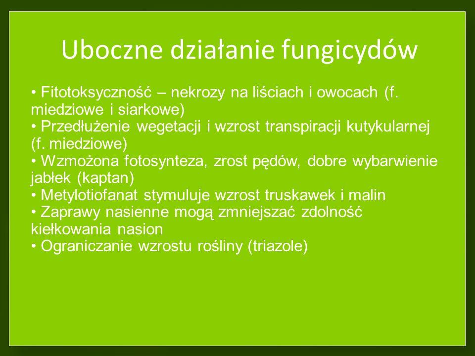 Odporność grzybów na fungicydy Nietrwała - zmiany w metabolizmie Trwała – zmiany genetyczne