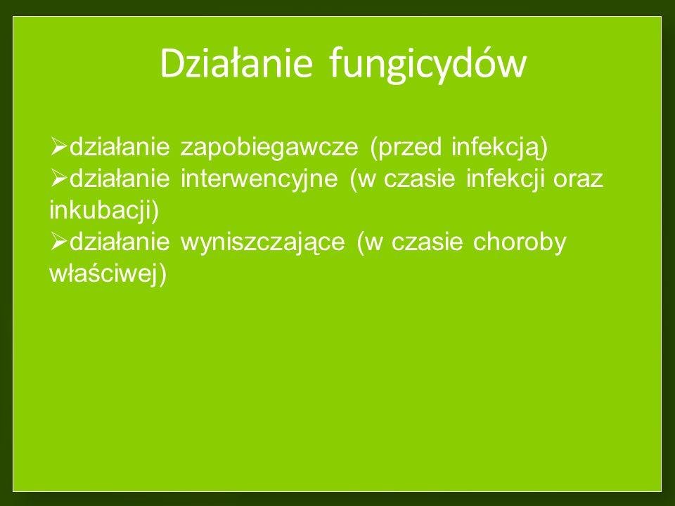 Aktywność fungicydów w roślinie działanie powierzchniowe - preparat utrzymuje się tylko na powierzchni organu roślinnego) działanie systemiczne - prep