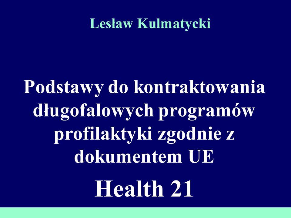 ZDROWIE 21 Wielo- sektorowość Uwarunkowania zdrowia, biorące pod uwagę aspekt fizyczny ekonomiczny, społeczny, kulturowy i odmienność płci Wynik zdrowotny Inwestowanie w poprawę zdrowia oraz opiekę kliniczną Integracja Zorientowana na rodzinę i społeczność lokalną oraz podstawową opiekę zdrowotną, wspierana przez elastyczny i właściwy system szpitalny Uczest- nictwo Rozwój na poziomie społeczności lokalnej i kraju, oraz promowanie wspólnego podejmowania decyzji, wdrażania i rozliczania 4 główne strategie