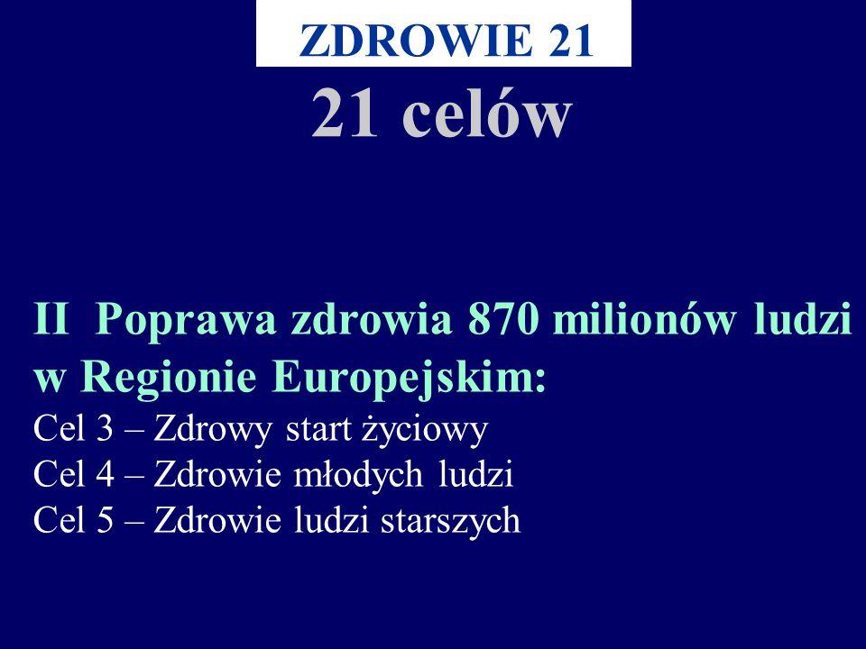 I Zapewnienie równości w zdrowiu poprzez jedność w działaniu: Cel 1 – Porozumienie na rzecz zdrowia w Regionie Europejskim Cel 2 – Równość w zdrowiu Z