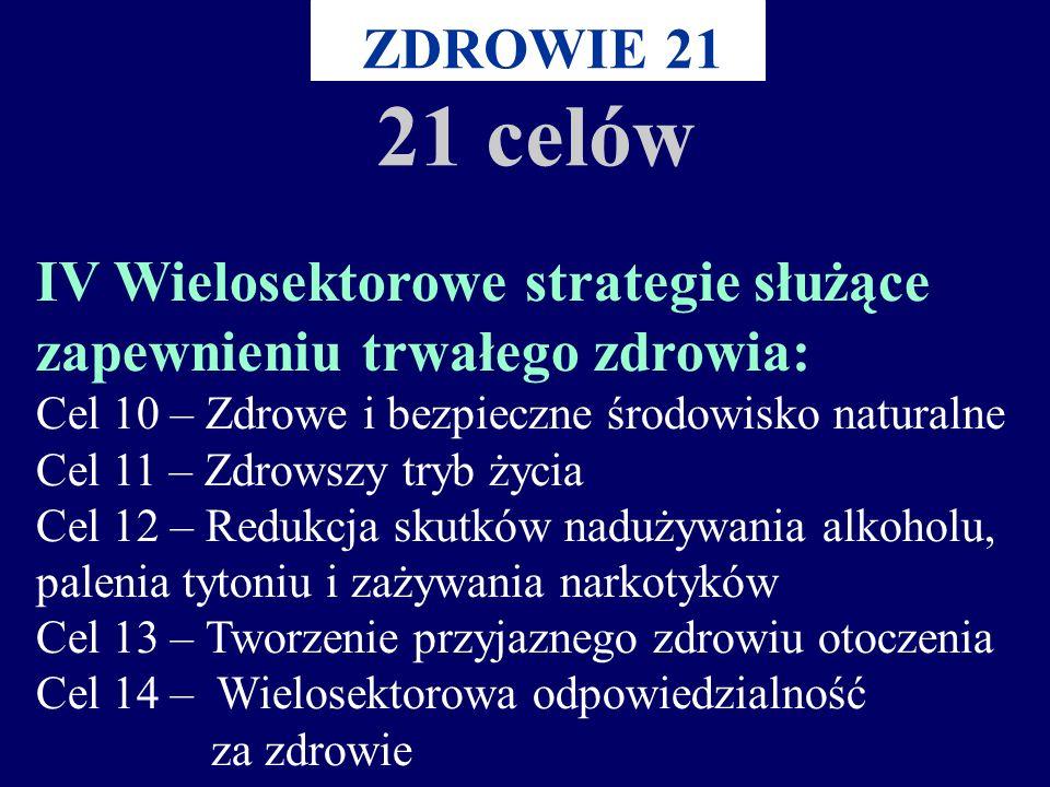 III Zapobieganie i zwalczanie chorób i urazów: Cel 6 – Poprawa zdrowia psychicznego Cel 7 – Redukcja chorób zakaźnych Cel 8 – Redukcja chorób nie zaka