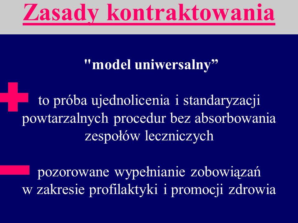 model uniwersalny polega na włączaniu zadań profilaktycznych i promocyjnych w podstawowe lecznicze kontrakty.