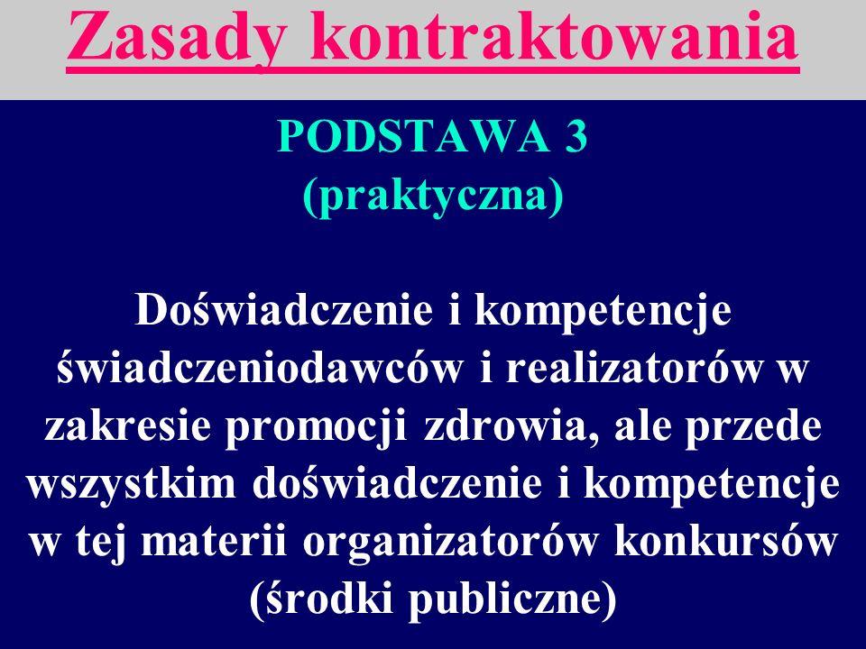 PODSTAWA 2 (merytoryczna) Obecność wymienionych w Zdrowiu 21 4 strategii i 6 grup celów oraz właściwa między nimi proporcja. Zasady kontraktowania