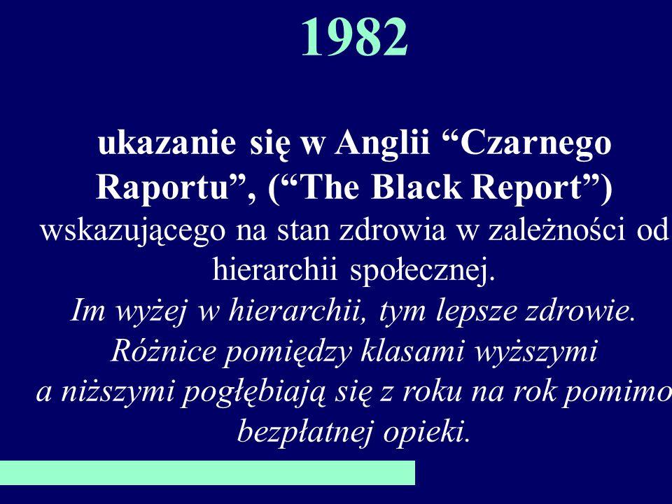 1982 ukazanie się w Anglii Czarnego Raportu, (The Black Report) wskazującego na stan zdrowia w zależności od hierarchii społecznej.