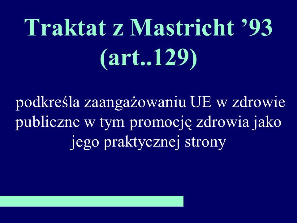 Traktat z Mastricht 93 (art..129) podkreśla zaangażowaniu UE w zdrowie publiczne w tym promocję zdrowia jako jego praktycznej strony