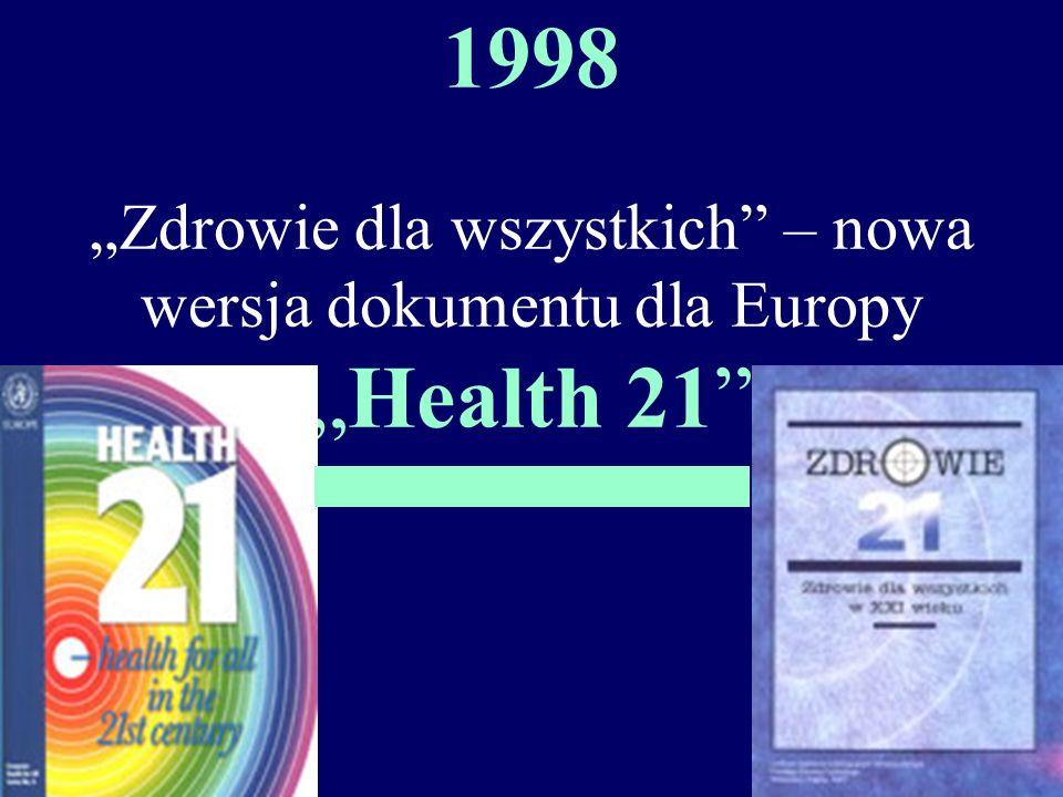 1998 Zdrowie dla wszystkich – nowa wersja dokumentu dla EuropyHealth 21