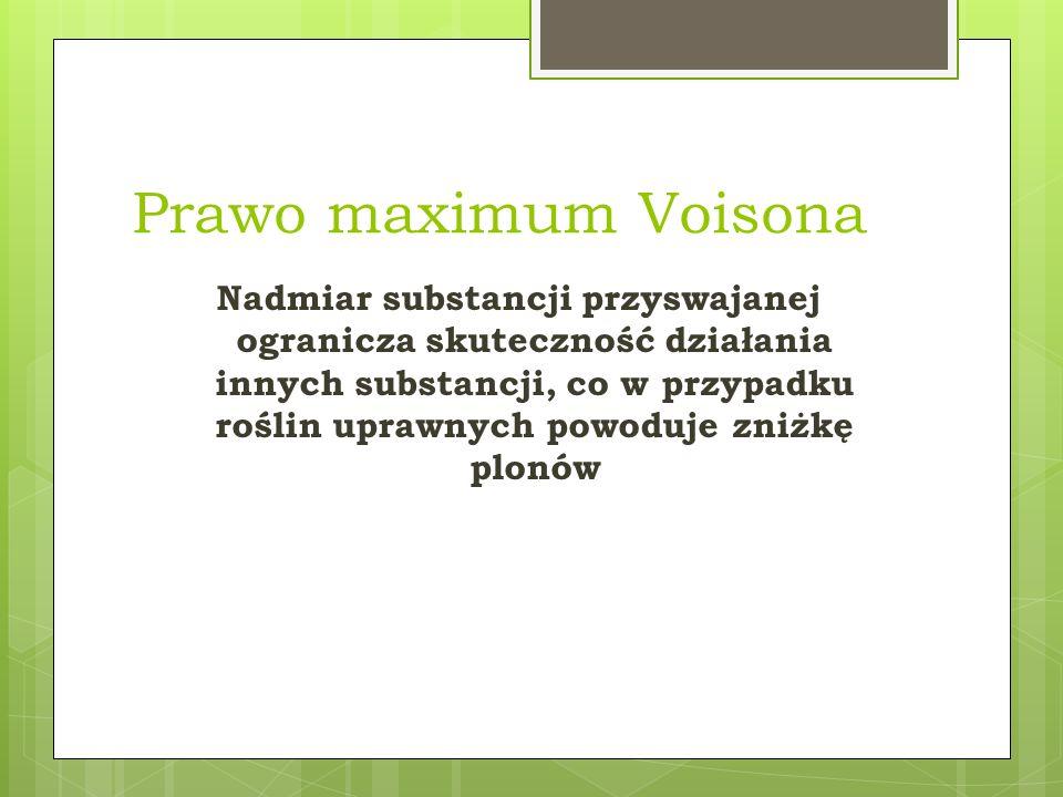 Prawo maximum Voisona Nadmiar substancji przyswajanej ogranicza skuteczność działania innych substancji, co w przypadku roślin uprawnych powoduje zniż