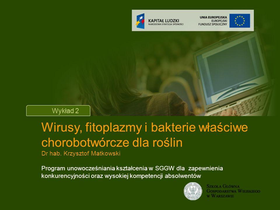 Tytuł wykładu Wykład 2 Wirusy, fitoplazmy i bakterie właściwe chorobotwórcze dla roślin Dr hab.