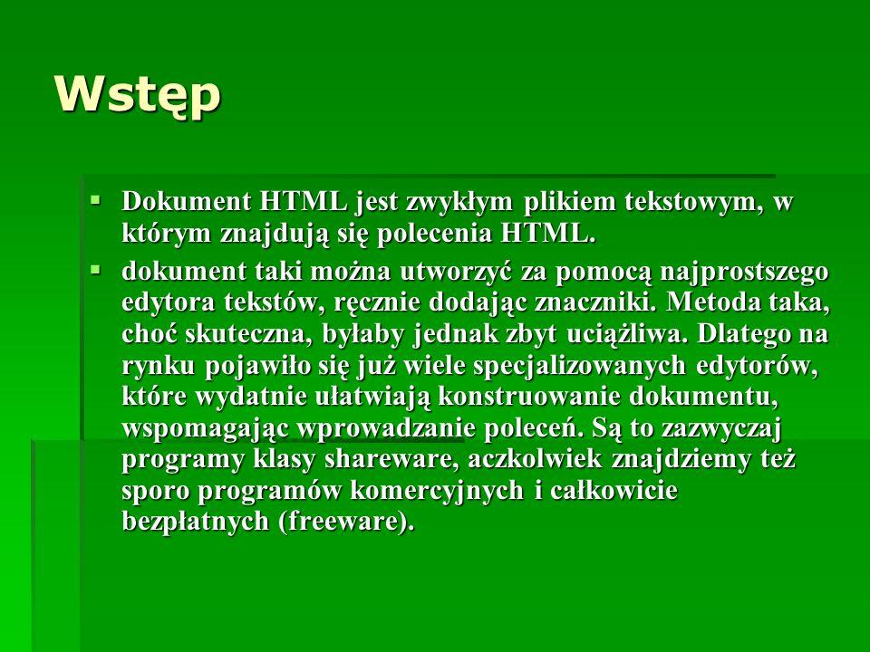 Wstęp Dokument HTML jest zwykłym plikiem tekstowym, w którym znajdują się polecenia HTML. Dokument HTML jest zwykłym plikiem tekstowym, w którym znajd