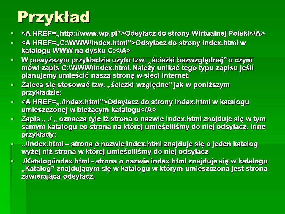 Przykład Odsyłacz do strony Wirtualnej Polski Odsyłacz do strony Wirtualnej Polski Odsyłacz do strony index.html w katalogu WWW na dysku C: Odsyłacz d