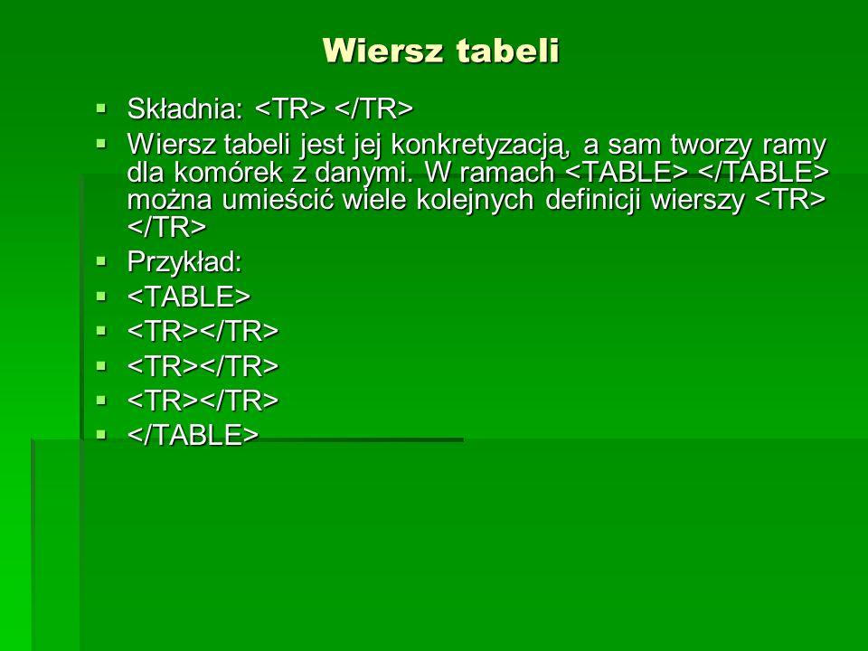 Wiersz tabeli Składnia: Składnia: Wiersz tabeli jest jej konkretyzacją, a sam tworzy ramy dla komórek z danymi. W ramach można umieścić wiele kolejnyc