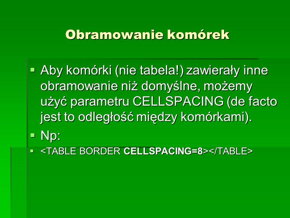 Obramowanie komórek Aby komórki (nie tabela!) zawierały inne obramowanie niż domyślne, możemy użyć parametru CELLSPACING (de facto jest to odległość m