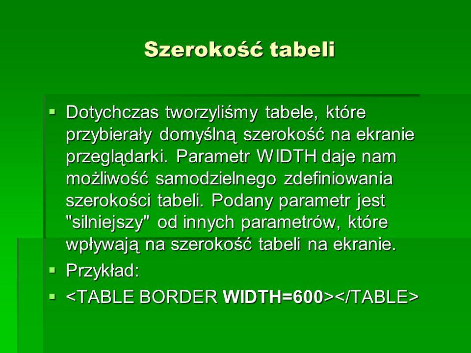 Szerokość tabeli Dotychczas tworzyliśmy tabele, które przybierały domyślną szerokość na ekranie przeglądarki. Parametr WIDTH daje nam możliwość samodz