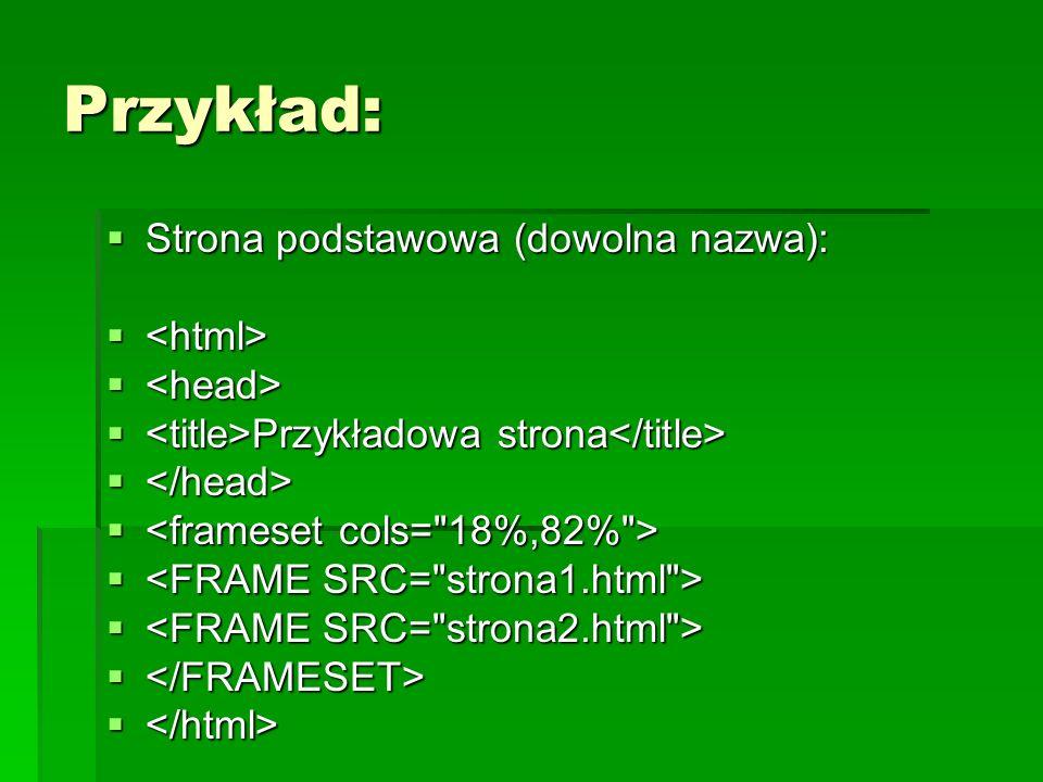 Przykład: Strona podstawowa (dowolna nazwa): Strona podstawowa (dowolna nazwa): Przykładowa strona Przykładowa strona