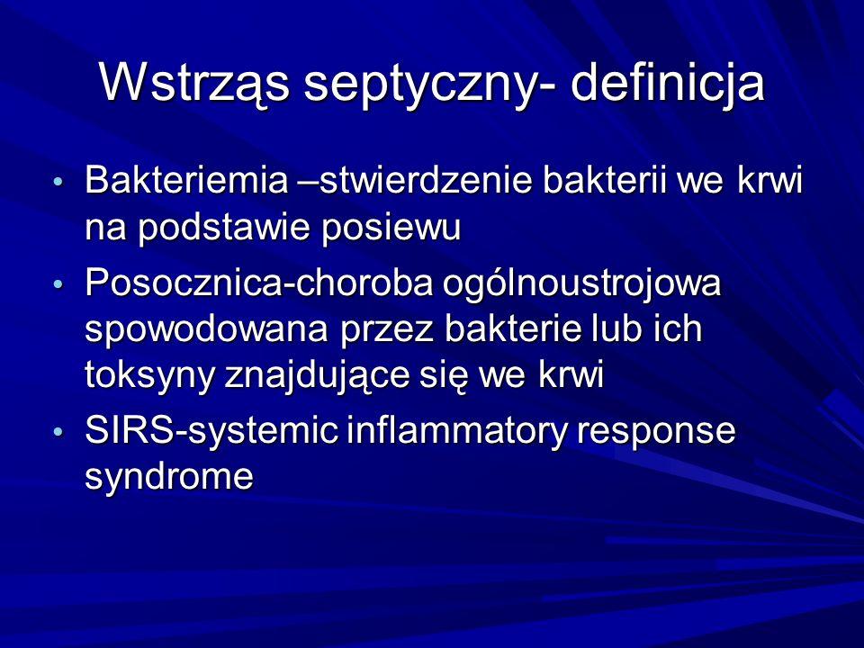 Wstrząs septyczny- definicja Bakteriemia –stwierdzenie bakterii we krwi na podstawie posiewu Bakteriemia –stwierdzenie bakterii we krwi na podstawie p